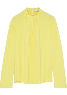 Tibi Woman Esme Pleated Crepe Blouse Yellow