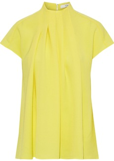 Tibi Woman Esme Pleated Crepe Top Yellow