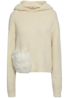 Tibi Woman Faux Fur-trimmed Alpaca-blend Hoodie Ecru