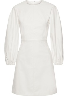 Tibi Woman Faux Leather Mini Dress White