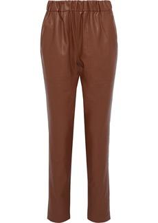 Tibi Woman Faux Leather Straight-leg Pants Brown