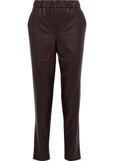 Tibi Woman Faux Leather Straight-leg Pants Chocolate