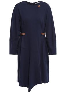 Tibi Woman Faux Leather-trimmed Jersey Mini Dress Navy