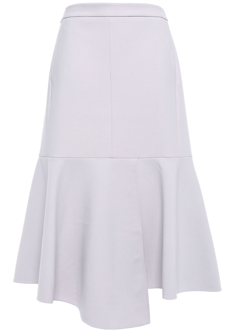 Tibi Woman Flared Stretch-crepe Midi Skirt Stone