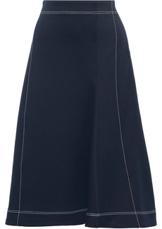 Tibi Woman Flared Twill Midi Skirt Navy