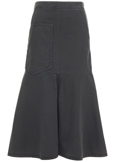 Tibi Woman Fluted Cotton-twill Midi Skirt Dark Gray