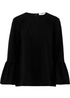 Tibi Woman Fluted Crepe De Chine Blouse Black