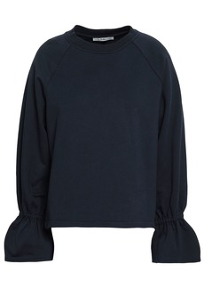 Tibi Woman Fluted French Cotton-blend Terry Sweatshirt Midnight Blue