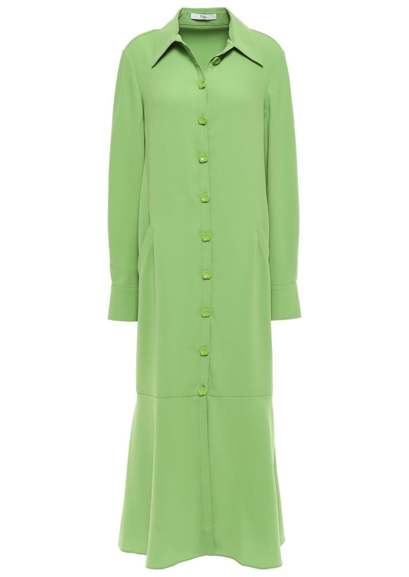 Tibi Woman Fluted Stretch-cady Midi Shirt Dress Leaf Green