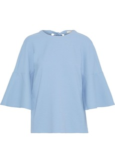 Tibi Woman Fluted Stretch-cady Top Light Blue
