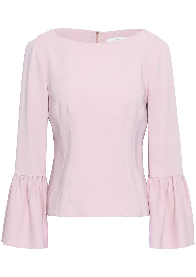 Tibi Woman Fluted Stretch-crepe Blouse Lilac