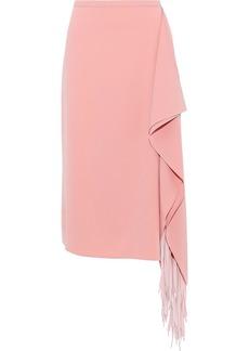 Tibi Woman Fringe-trimmed Draped Crepe Midi Skirt Bubblegum