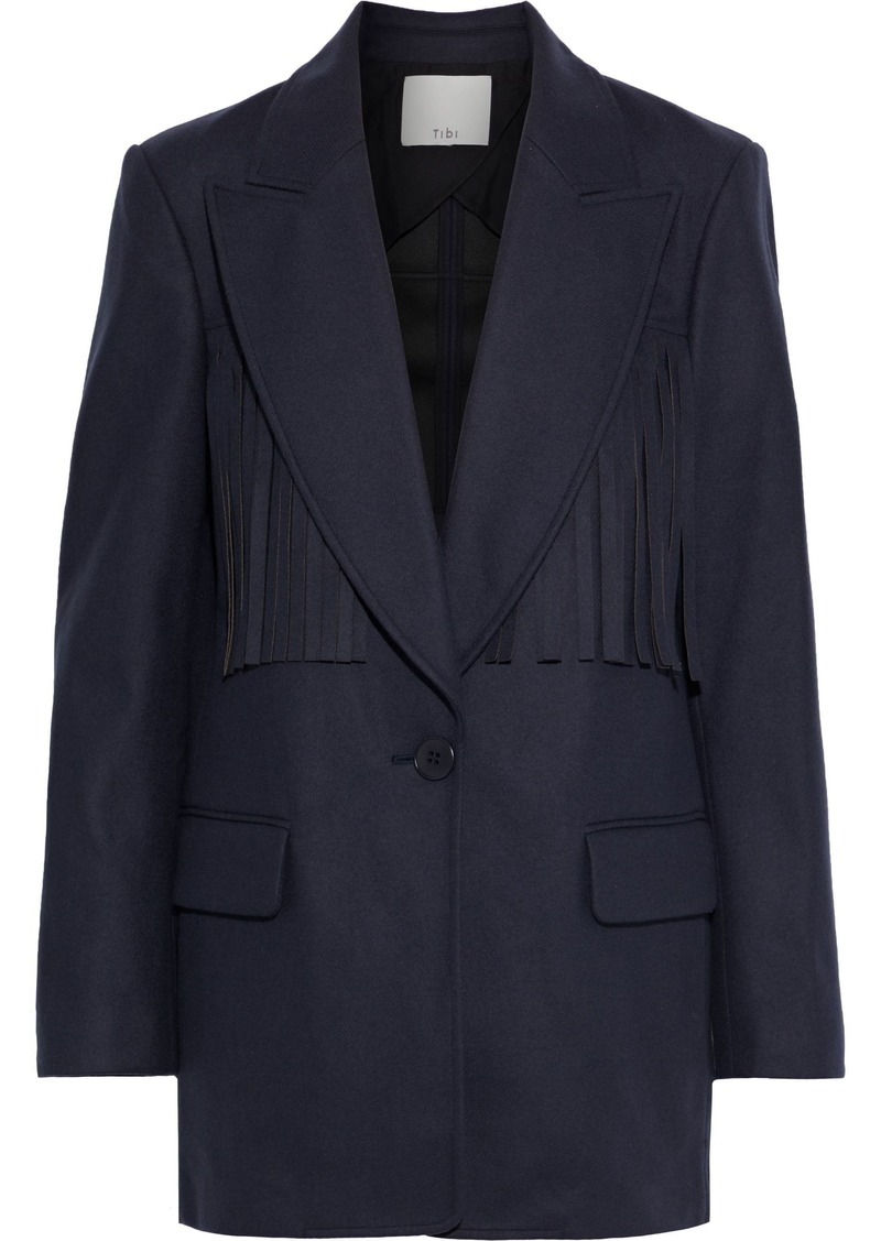 Tibi Woman Fringe-trimmed Wool-blend Blazer Navy