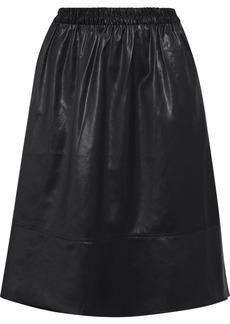 Tibi Woman Gathered Coated-shell Skirt Black