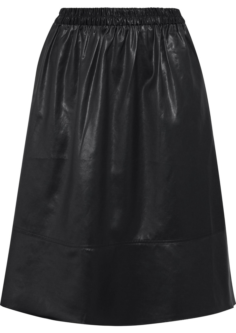 Tibi Woman Gathered Coated-shell Skirt Black