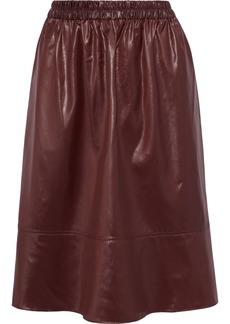 Tibi Woman Gathered Coated-shell Skirt Burgundy