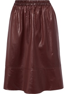 Tibi Woman Gathered Coated-shell Skirt Burgundy