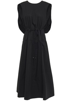 Tibi Woman Gathered Cotton-poplin Midi Dress Black