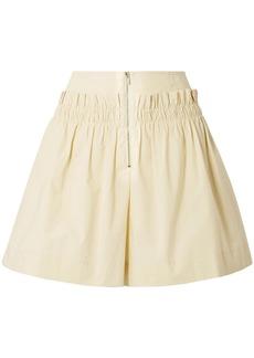 Tibi Woman Gathered Cotton-poplin Shorts Pastel Yellow