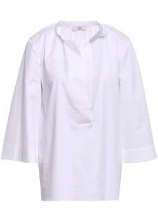 Tibi Woman Gathered Cotton-poplin Top White