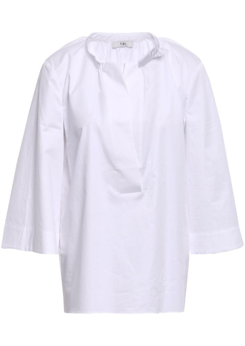 Tibi Woman Gathered Cotton-poplin Top White