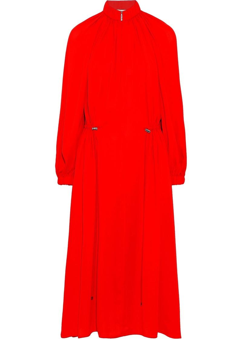 Tibi Woman Gathered Crepe De Chine Midi Dress Red