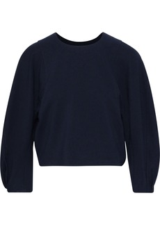 Tibi Woman Cropped Ponte Top Navy