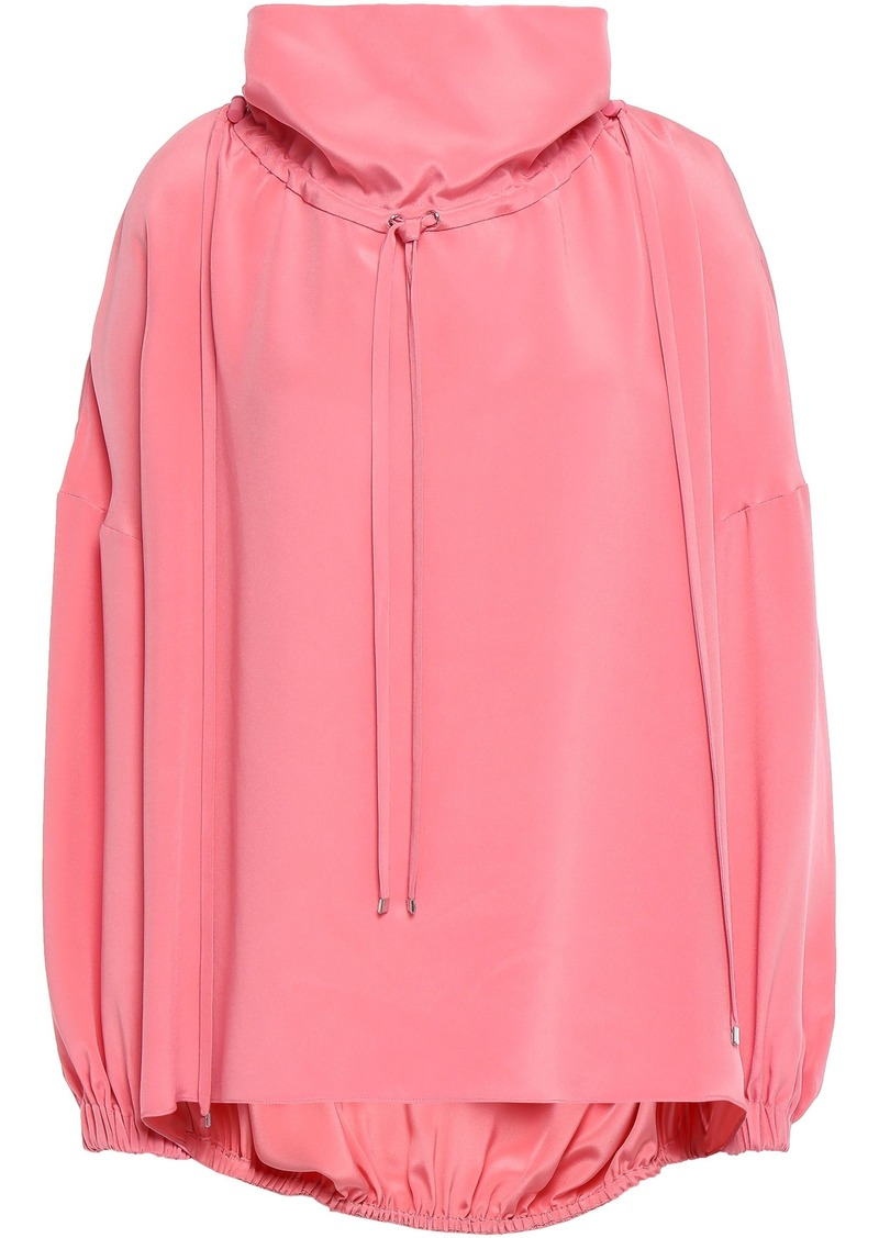 Tibi Woman Gathered Silk Crepe De Chine Top Bubblegum
