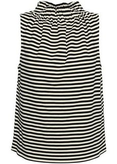 Tibi Woman Gathered Striped Cotton-blend Jersey Top Black