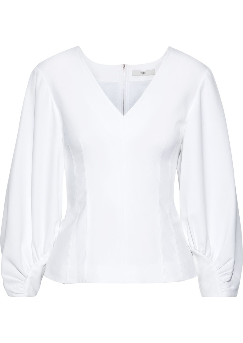 Tibi Woman Gathered Woven Blouse White