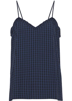 Tibi Woman Gingham Flannel Camisole Navy