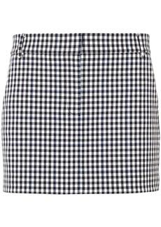 Tibi Woman Gingham Twill Mini Skirt Black