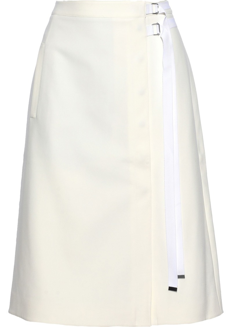 Tibi Woman Grosgrain-trimmed Cady Wrap Skirt Ivory