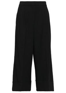 Tibi Woman Grosgrain-trimmed Crepe Culottes Black