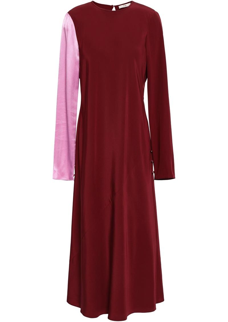 Tibi Woman Hammered Satin-paneled Silk-crepe Midi Dress Claret