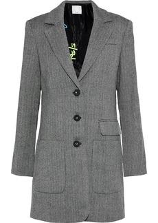 Tibi Woman Herringbone Wool Coat Gray