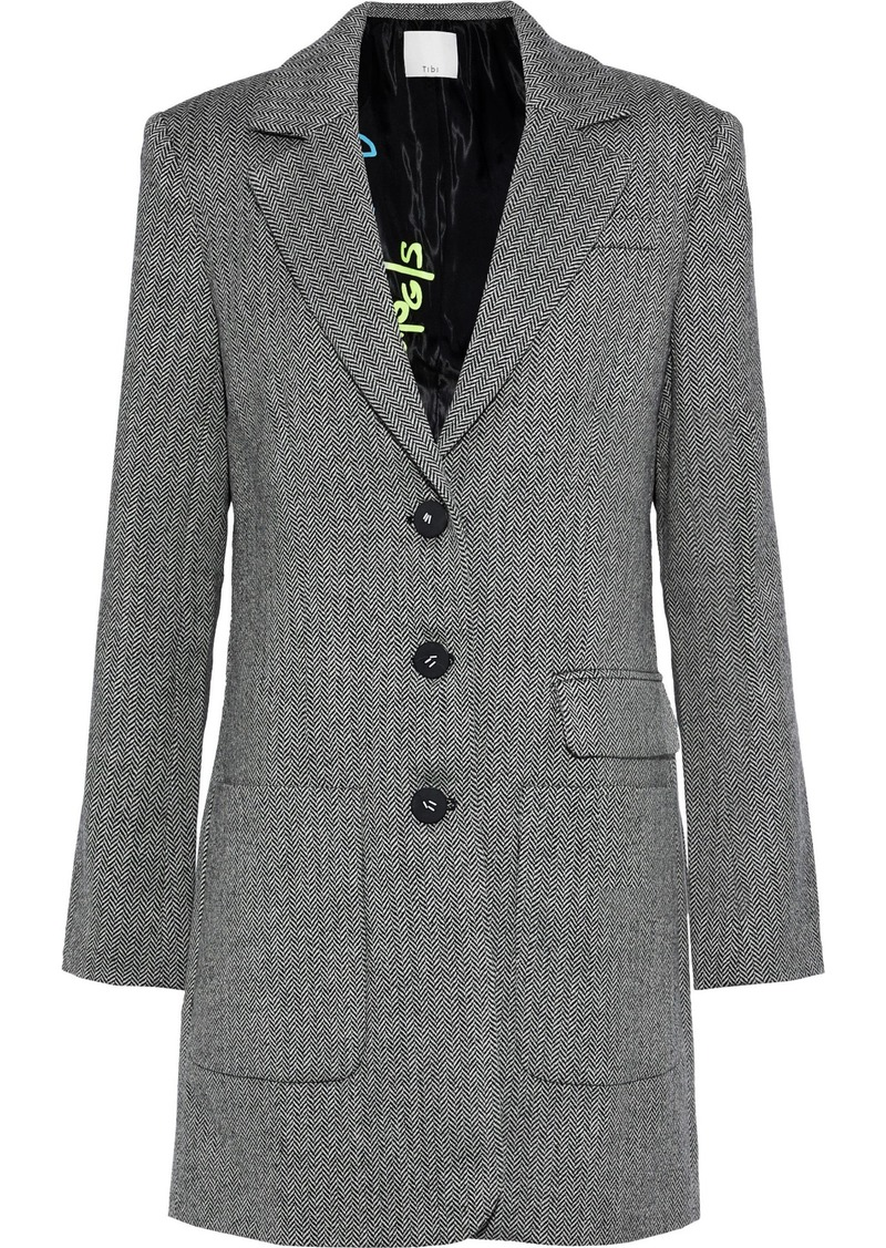 Tibi Woman Herringbone Wool Coat Gray