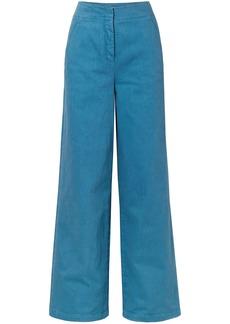 Tibi Woman High-rise Wide-leg Jeans Azure