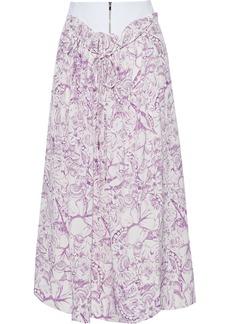 Tibi Woman Isa Gathered Printed Silk Crepe De Chine Midi Skirt Purple