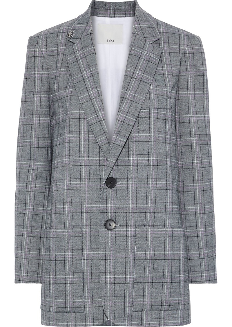 Tibi Woman James Embellished Checked Woven Blazer Anthracite