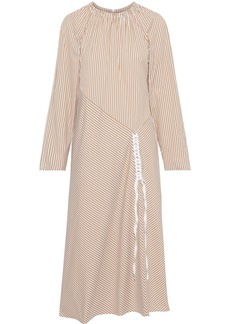 Tibi Woman Kaia Braid-trimmed Striped Cotton-blend Poplin Midi Dress Sand