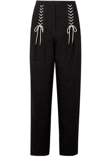 Tibi Woman Lace-up Cotton-blend Tapered Pants Black