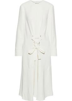 Tibi Woman Lace-up Stretch-twill Midi Dress Ivory