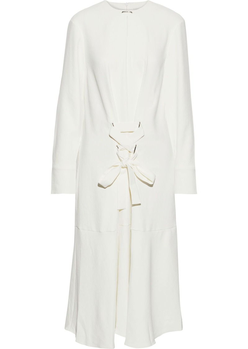 Tibi Woman Lace-up Stretch-twill Midi Dress Ivory