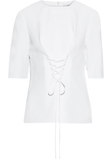 Tibi Woman Lace-up Textured-twill Top White