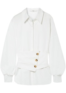 Tibi Woman Layered Cotton-poplin Shirt White