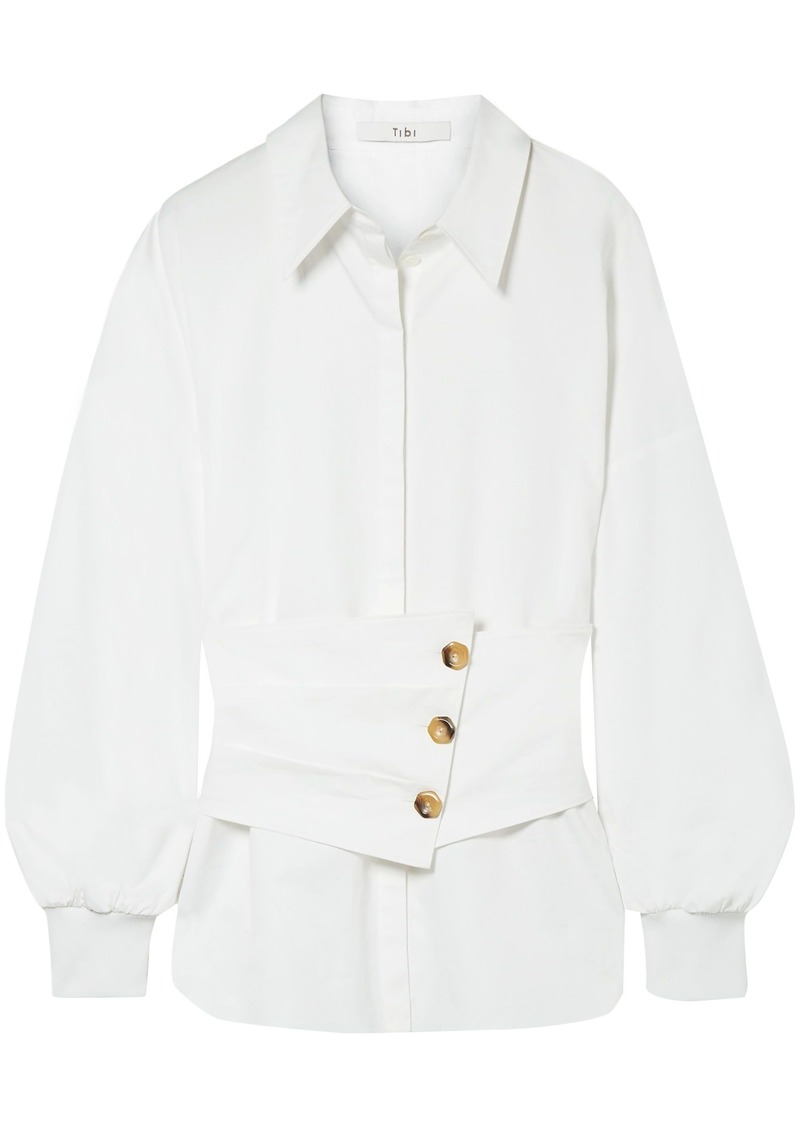 Tibi Woman Layered Cotton-poplin Shirt White