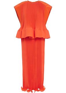 Tibi Woman Ruffled Plissé Crepe De Chine Peplum Midi Dress Bright Orange