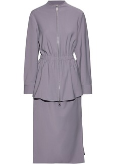 Tibi Woman Layered Woven Peplum Midi Dress Lavender