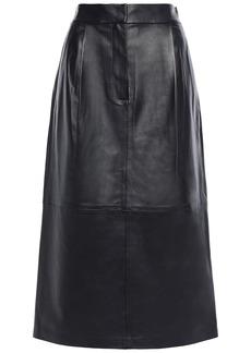 Tibi Woman Leather Midi Skirt Black